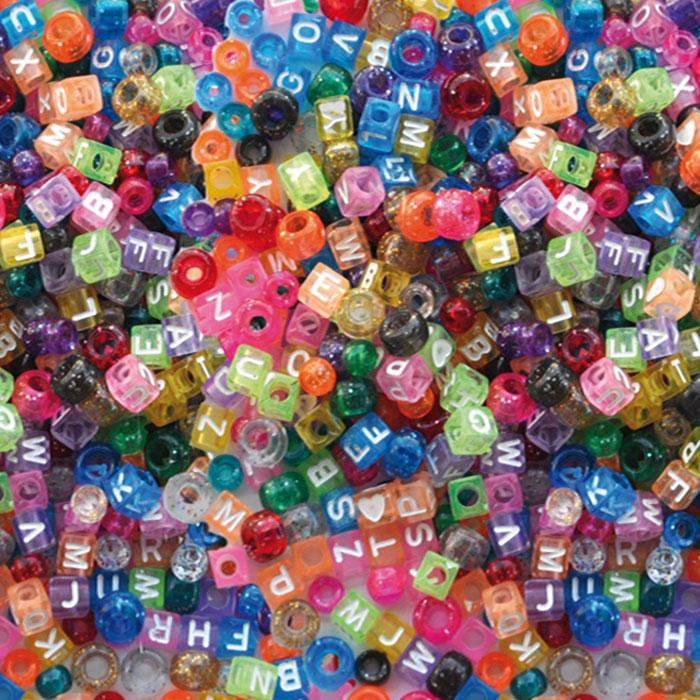 Kongo pärlor bokstäver, plast, 1000 st