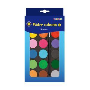 Playbox - Palett med vattenfärger, 22 x 12 cm, 18 färger med pensel